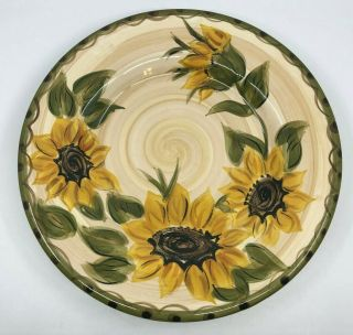 """Set Of 3 Whole Home Provencial Garden Dinner Plates Sunflowers 11 1/4 """""""