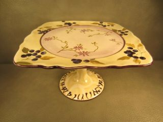 Tracy Porter Hand Painted Grapes And Vines Cake Serving Plate Platter Pedestal