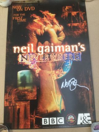 "Neverwhere Promo Dvd Poster Signed By Neil Gaiman (rare) 11"" X 17"" Heavy Stock"