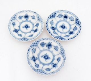 3 Small Dished 504 - Blue Fluted Royal Copenhagen - Half Lace - 2nd Quality