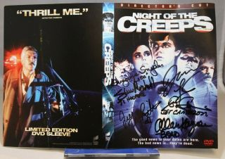 Night Of The Creeps Dvd Cover - Signed By 6 Including Tom Atkins