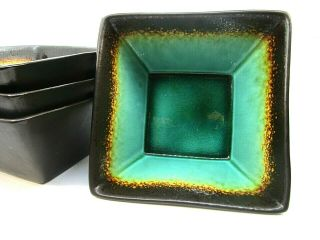 Set Of 4 Better Homes And Gardens Jade Brown Square Stoneware Bowls