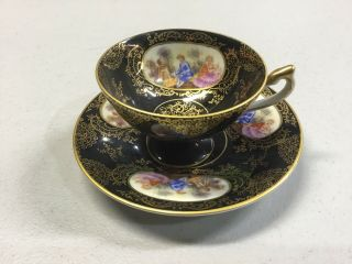 Lefton China Wk913ad Footed Cup & Saucer Courting Couple Black Gold Edge