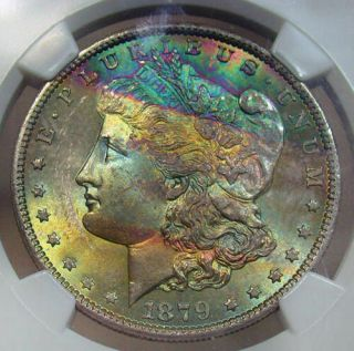 1879 - S Ngc Ms 65 Morgan - Bag & Cheek Textile Rainbow Tone With Money Color (dr)