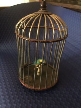 """Miniature Bird Cage For Doll House Or Fairy Garden 6 3/4""""tall X 3"""" Wide"""