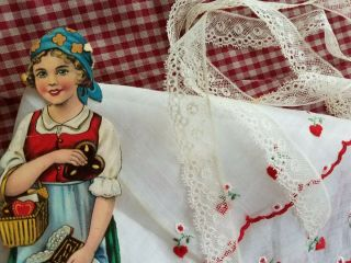 Antique Paper Doll Lace Trim Vtg Hanky Embroidery Heart Red Quilt Gingham Fabric