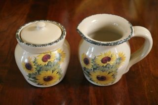 Home & Garden Party 1999 Sunflower Creamer And Sugar Bowl With Lid