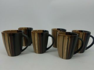 6 Brown And Black Better Home And Garden Mugs