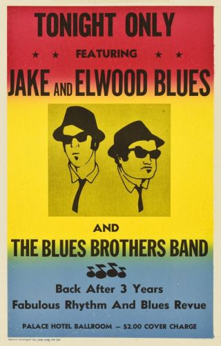 """ Blues Brothers Band "" Jake & Elwood Blues.  Classic Movie Poster Various Sizes"