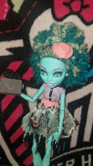 Monster High Frights Camera Action Honey Swamp Doll,  Needs Cleaning.  See Photos.