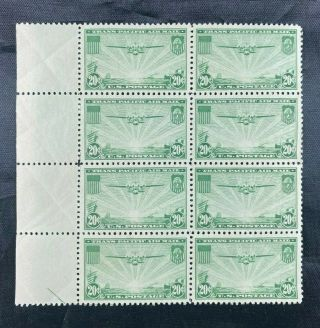 Us Scott C21 Plate Block Of 8 Never Hinged 20c Stamps Airmail 1937