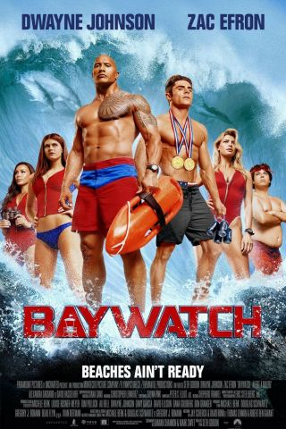 """ Baywatch 2017 "".  Dwayne Johnson Zac Efron.  Classic Movie Poster Various Sizes"
