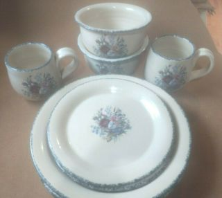 8 Piece Floral Stoneware Luncheon Set Made In Usa Home & Garden Party Pottery