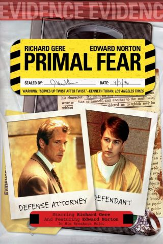 """ Primal Fear "".  Richard Gere Edward Norton.  Classic Movie Poster Various Sizes"