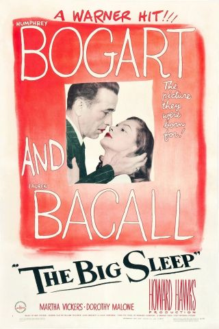 """ The Big Sleep "".  Bogart & Bacall.  Vintage 1946 Movie Poster Various Sizes"
