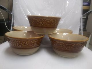 """6 Better Homes And Garden Embossed Scroll Brown Rim Stoneware Bowls 6 1/2 """""""