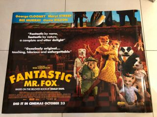 Fantastic Mr Fox Wes Anderson Rare Uk Quad Movie Poster