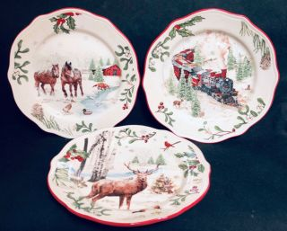 Better Homes & Gardens Heritage Salad Plates 3 Winter Forest