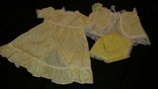 Clothes Made For Cabbage Patch Kid Premie Gown,  Vest,  Pants Yellow Layette 3 Pc