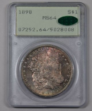 1898 Morgan Silver Dollar Pcgs Ms64 Cac Pq Ogh Rattler Rainbow Textile?