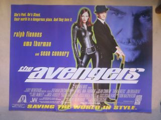 The Avengers 1998 British Quad Film Movie Poster Sean Connery