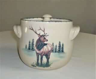 Northwoods By Home & Garden Party Deer Elk Bean Pot Cookie Jar Canister With Lid