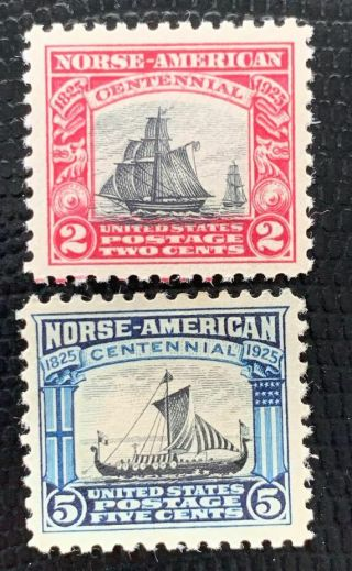 1925 Us Stamp Sc 620 - 621 Norse - American Set Well Centered