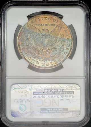 1896 - P Ngc Ms64 Morgan Silver Dollar Vibrant Speckled Textile Rainbow Toned
