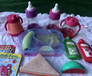 Pretend Food & Snacks W/bottles & Sippy Cups For Baby Doll Play
