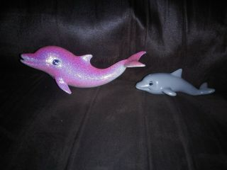 Mattel Barbie Replacement Pink Sparkle Pink Glittery Dolphin 2009 Grey Baby 2010