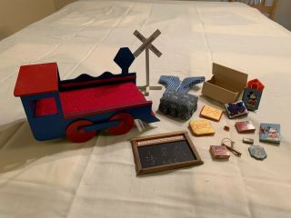 Doll House Furiture Childs Room Train Theme With - Toys - Pillows - Ottoman