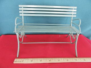 Doll House Or Bear Park Bench Metal Bluish Green Color Play Furniture