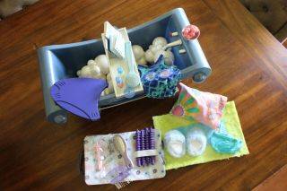 American Girl Doll Bath Tub W/ Bubbles,  Accessories,  Swimsuit,  And Haircare