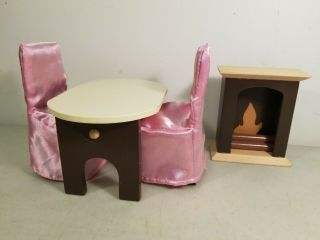 1:6 Scale Wooden Dollhouse Furniture: Dining Table,  2 Chairs & Fireplace