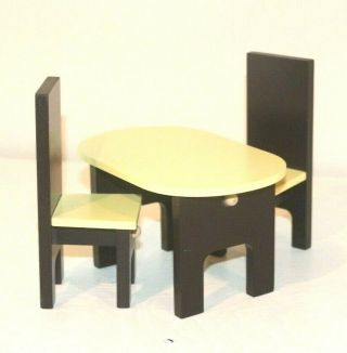 Barbie Dollhouse Miniature 1:12 Wood Furniture Dining Room Table Chairs Set
