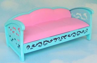 Mattel Barbie 1995 Victorian Dream House Living Room Sofa,  Pink/turquoise Couch