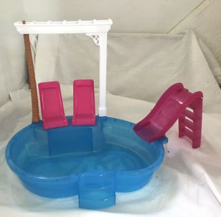 Barbie Glam Swimming Pool With Lounge Chairs And Slide - - Pool Playset -