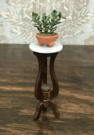1/12 Dollhouse Miniature Marble - Top Plant Stand With Succulent
