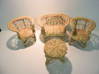 Set Of Rattan Doll Furniture - 2 Chairs,  Loveseat And Table