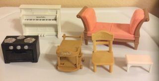 Dollhouse Furniture Stove,  Piano,  Bar Cart Epoch Co. ,  Chaise Unbranded