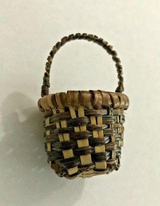 """Miniature Woven Basket Decoration Tiny 2 """" Tall Doll House Furniture"""