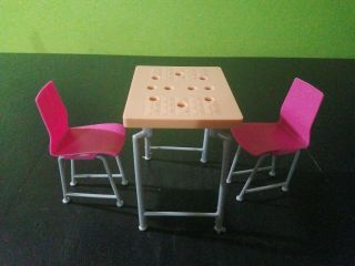 Barbie Furniture Set With Dining Table And Two Chairs
