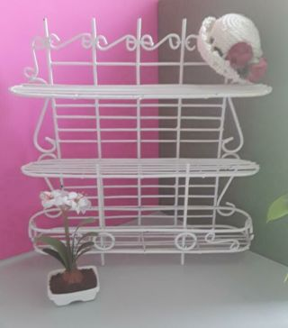 Doll House Miniature Furniture White Wire Wrought Iron Bakers Rack Shelf