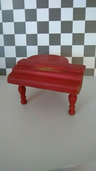Vtg 1930s Strombecker Dollhouse Furniture Red Baby Grand Piano 1:16
