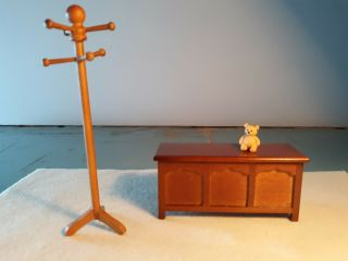 Dollhouse Minature Blanket/toy Chest W/hat Stand And Teddy Bear 1:12 Scale