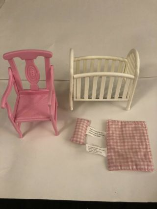 Crib Blanket Pillow And Barbie Doll Chair
