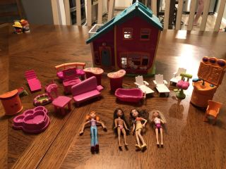 Polly Pocket Playhouse With Dolls And Furniture