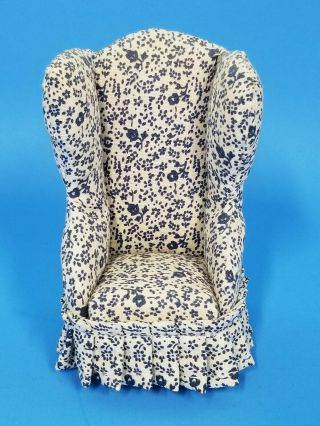 Doll House Miniature Upolstered Chair Blue And White