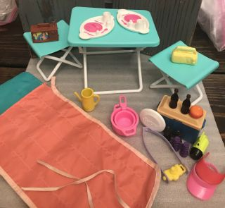 Barbie Sized Camping Set Broken Table