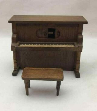 Miniature Upright Piano With Stool - Has Music Box But Doesn